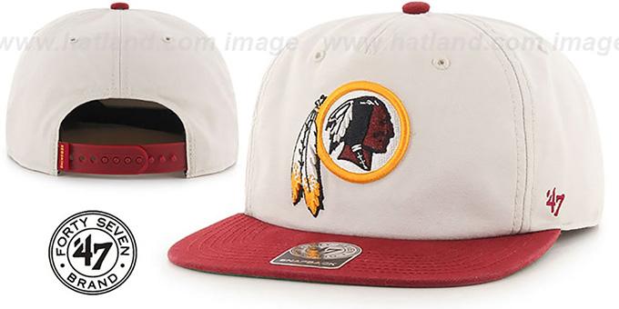 df3a540f8cd7e ... Redskins  MARVIN SNAPBACK  Ivory-Burgundy Hat by Twins 47 Brand ...