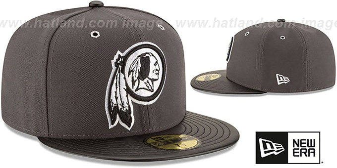 Redskins 'METAL HOOK' Grey-Black Fitted Hat by New Era