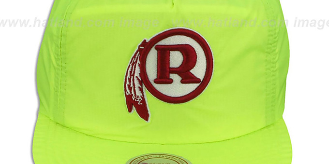 Redskins 'NEON CAMPER SNAPBACK' Lime Hat by Mitchell and Ness