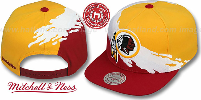 Redskins 'PAINTBRUSH SNAPBACK' Gold-White-Burgundy Hat by Mitchell and Ness
