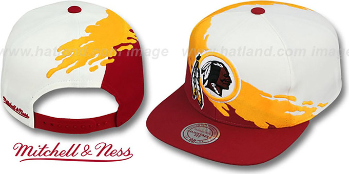 Redskins 'PAINTBRUSH SNAPBACK' White-Gold-Burgundy Hat by Mitchell & Ness