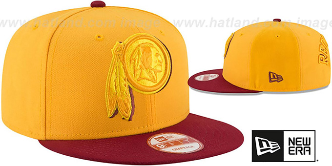 Redskins 'SHADOW SLICE SNAPBACK' Gold-Burgundy Hat by New Era