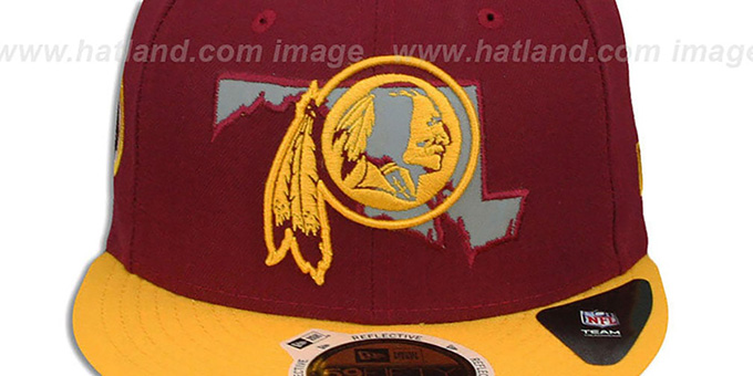Redskins 'STATE REFLECT' Burgundy-Gold Fitted Hat by New Era