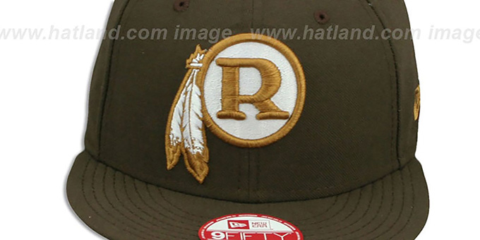 4e3c0be460512b ... Redskins 'THROWBACK TEAM-BASIC SNAPBACK' Brown-Wheat Hat by New Era ...