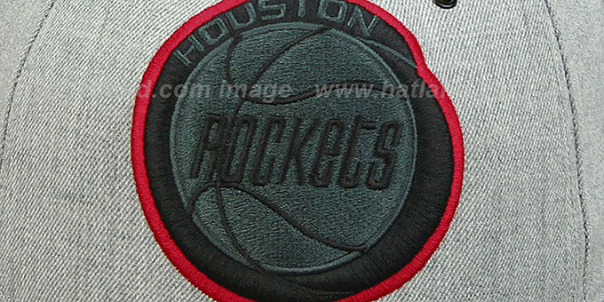 Rockets '2T XL-LOGO FADEOUT' Grey-Black Fitted Hat by Mitchell and Ness