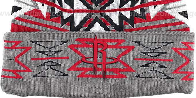 Rockets 'GEOTECH' Knit Beanie by Mitchell and Ness