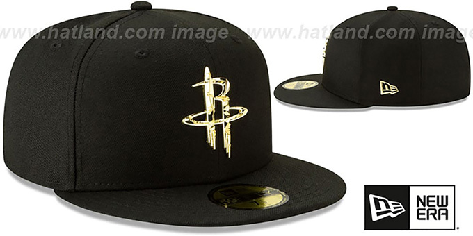 Rockets 'GOLD SHATTERED METAL-BADGE' Black Fitted Hat by New Era