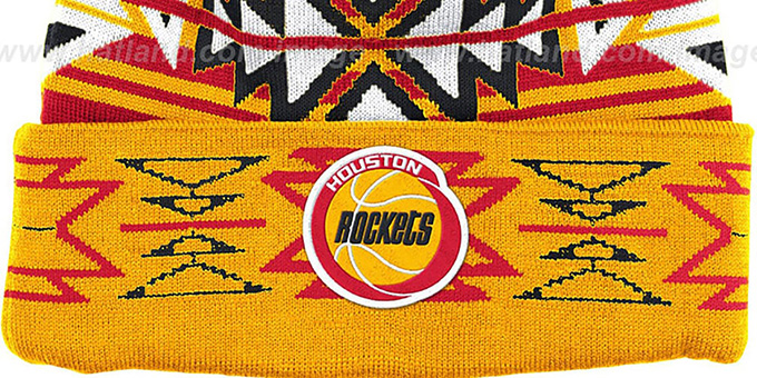 Rockets HWC 'GEOTECH' Knit Beanie by Mitchell and Ness