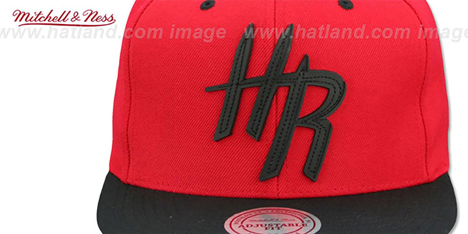 Rockets 'XL RUBBER WELD SNAPBACK' Red-Black Adjustable Hat by Mitchell and Ness