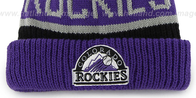 Rockies 'THE-CALGARY' Purple-Black Knit Beanie Hat by Twins 47 Brand