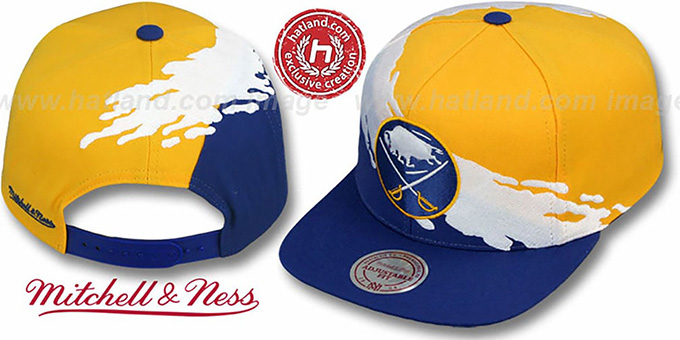 Sabres 'PAINTBRUSH SNAPBACK' Gold-White-Royal Hat by Mitchell & Ness