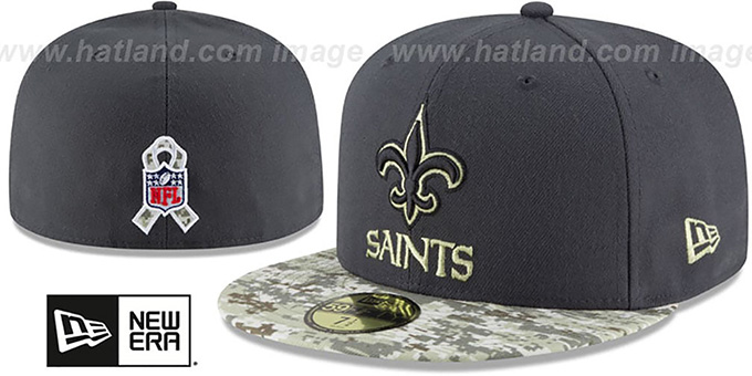 Saints '2016 SALUTE-TO-SERVICE' Grey-Desert Fitted Hat by New Era