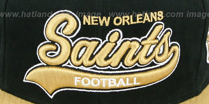 Saints '2T TAILSWEEPER SNAPBACK' Black-Gold Hat by Mitchell & Ness
