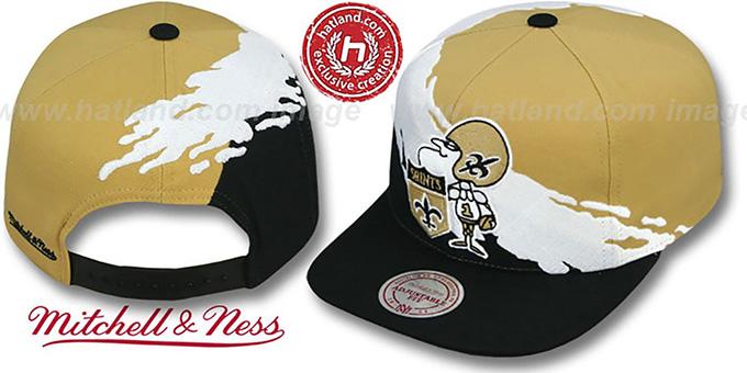 ... Saints  PAINTBRUSH SNAPBACK  Gold-White-Black Hat by Mitchell   Ness ... 8de71d5f18d
