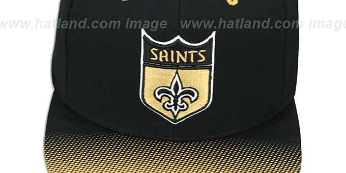 Saints 'STOP-ON-A-DIME SNAPBACK' Black-Gold Hat by Mitchell and Ness
