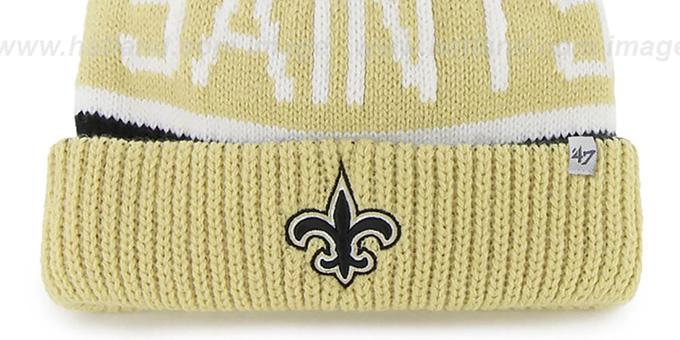 Saints 'THE-CALGARY' Gold-Black Knit Beanie Hat by Twins 47 Brand
