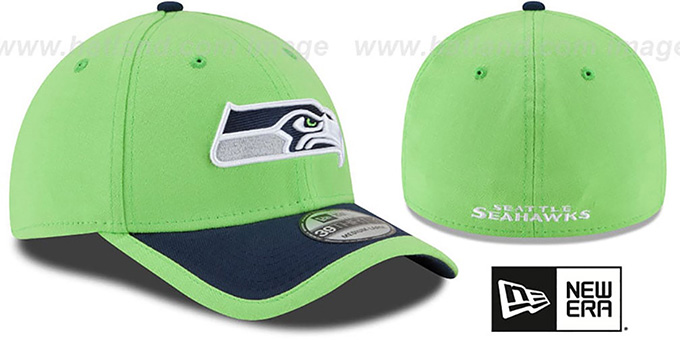 Seahawks '2015 NFL STADIUM FLEX' Lime-Navy Hat by New Era