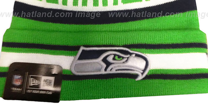 Seahawks ALT 'JAKE-3' Lime Knit Beanie Hat by New Era