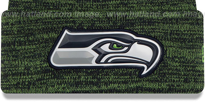 Seahawks 'BEVEL' Navy-Lime Knit Beanie Hat by New Era