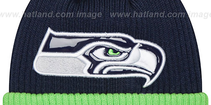 Seahawks 'CHILLER FILLER BEANIE' Navy-Lime by New Era