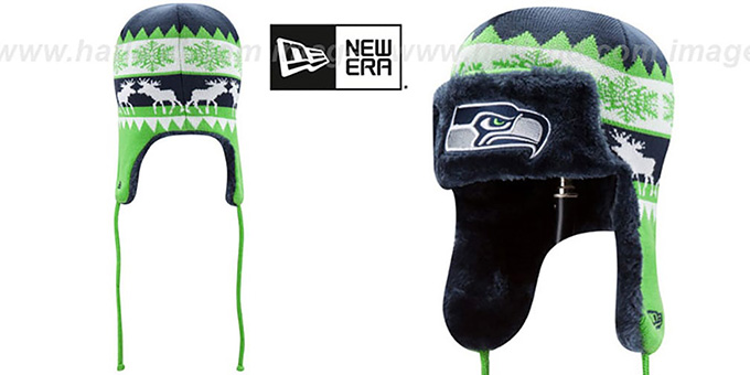 Seahawks 'MOOSER TRAPPER' Navy-Lime Knit Hat by New Era