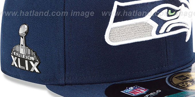 Seahawks 'NFL SUPER BOWL XLIX ONFIELD' Navy Fitted Hat by New Era