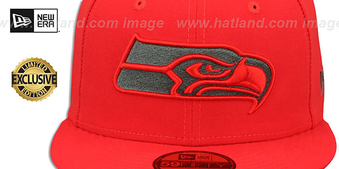 Seahawks 'NFL TEAM-BASIC' Fire Red-Charcoal Fitted Hat by New Era