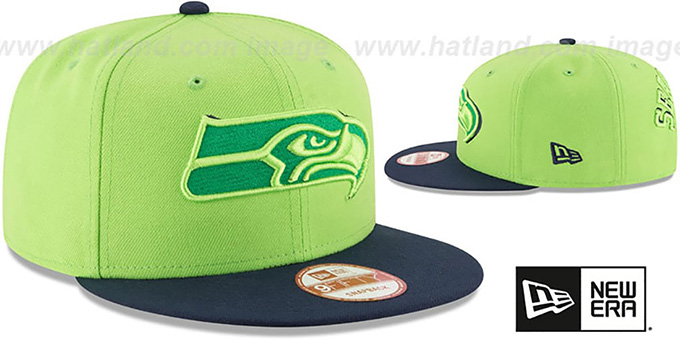 Seahawks 'SHADOW SLICE SNAPBACK' Lime-Navy Hat by New Era