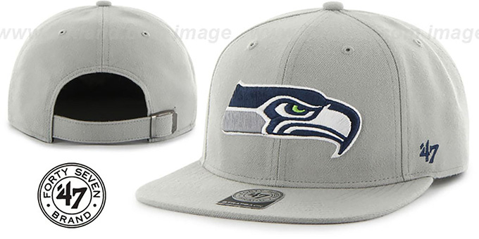 Seahawks 'SUPER-SHOT STRAPBACK' Grey Hat by Twins 47 Brand