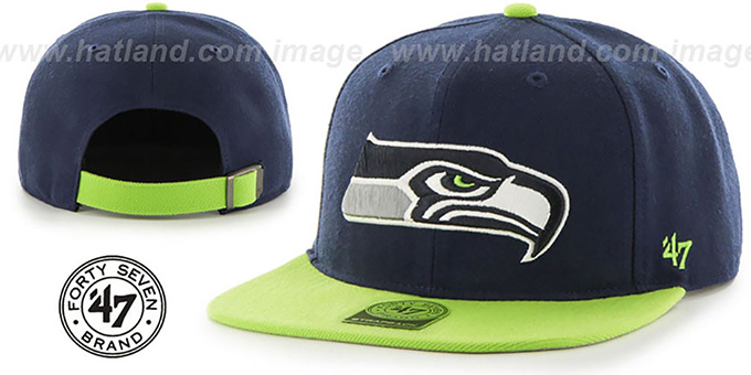 Seahawks 'SUPER-SHOT STRAPBACK' Navy-Lime Hat by Twins 47 Brand