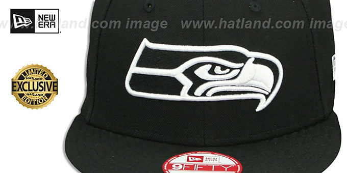 Seahawks 'TEAM-BASIC SNAPBACK' Black-White Hat by New Era