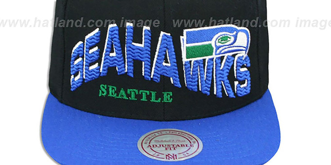 Seahawks 'THE-WAVE SNAPBACK' Black-Royal Hat by Mitchell and Ness