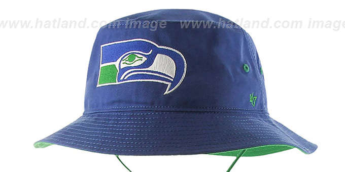 4824d84dd8611 ... Seahawks  THROWBACK KIRBY BUCKET  Royal Hat by Twins 47 Brand ...