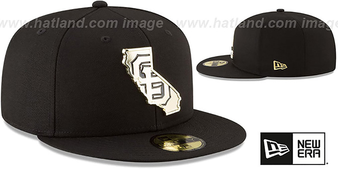 792d242726a384 ... SF Giants 'GOLD STATED METAL-BADGE' Black Fitted Hat by New Era ...