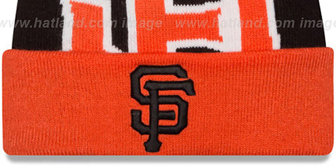 SF Giants 'LOGO WHIZ' Black-Orange Knit Beanie Hat by New Era