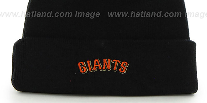 SF Giants 'POMPOM CUFF' Black Knit Beanie Hat by Twins 47 Brand