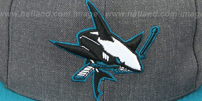 Sharks '2T-HEATHER SNAPBACK' Grey-Teal Hat by Mitchell & Ness