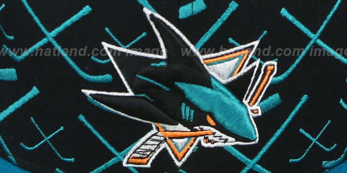 Sharks '2T TOP-SHELF' Black-Teal Fitted Hat by Zephyr