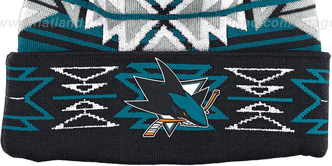 Sharks 'GEOTECH' Knit Beanie by Mitchell and Ness