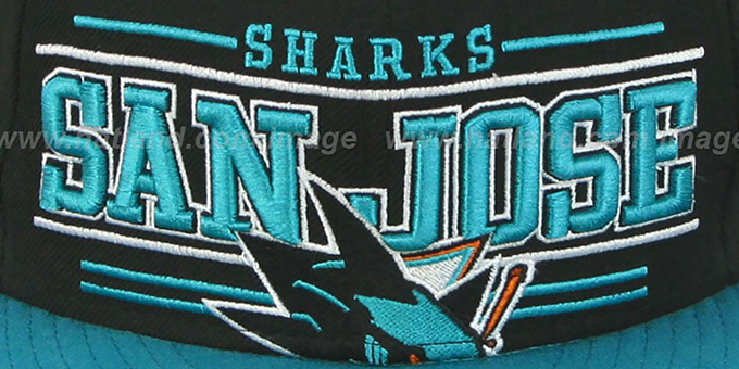 Sharks 'RETRO-SMOOTH' Black-Teal Fitted Hat by New Era