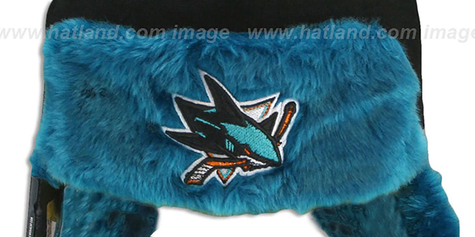 Sharks 'SNOWFLAKE TRAPPER' Black-Teal Knit Hat by New Era