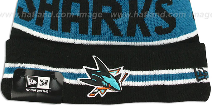Sharks 'THE-COACH' Black Knit Beanie Hat by New Era