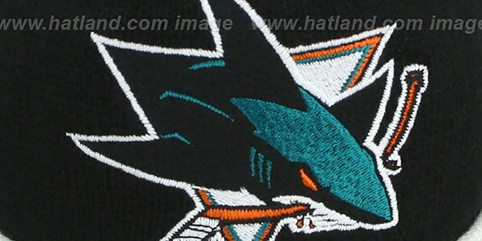 Sharks 'XL-LOGO BEANIE' Black by Mitchell and Ness