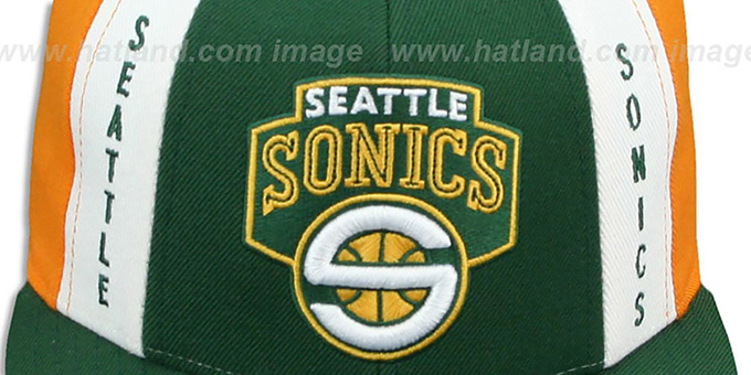 Sonics 'AJD THROWBACK PINWHEEL' Green-Gold Fitted Hat by Reebok