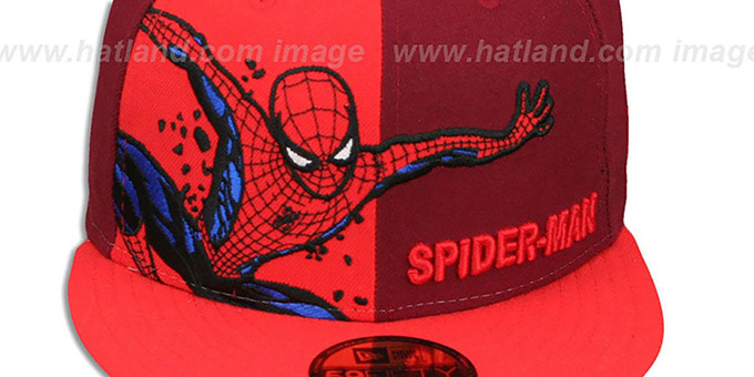 Spiderman 'PANEL-POP' Burgundy-Red Fitted Hat by New Era