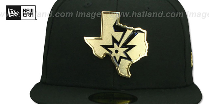 Spurs 'GOLD STATED METAL-BADGE' Black Fitted Hat by New Era
