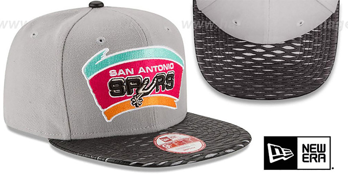 Spurs 'HWC LEATHER-RIP SNAPBACK' Grey-Black Hat by New Era