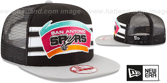 Spurs 'THROWBACK-STRIPE SNAPBACK' Black-Grey Hat by New Era
