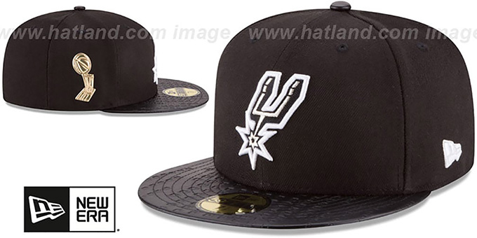Spurs 'TROPHY-CHAMP' Black Fitted Hat by New Era