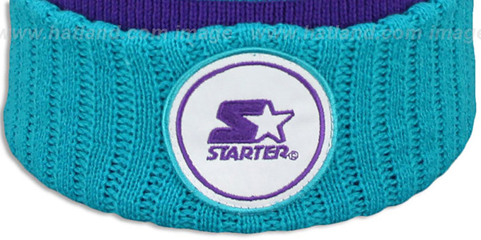 Starter 'S-STAR CLASSIC BOBBLE' Purple-Teal Knit Beanie Hat
